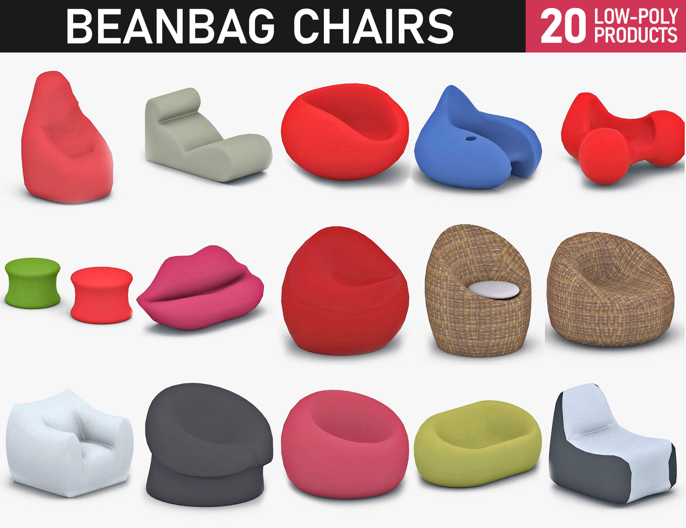 Stupendous Bean Bag Chairs Collection 3D Model Pabps2019 Chair Design Images Pabps2019Com