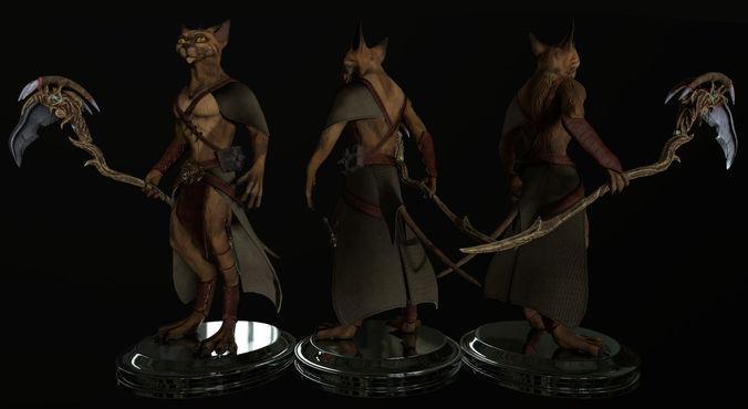 fantasy cat  3d model obj mtl fbx c4d dae tga 1
