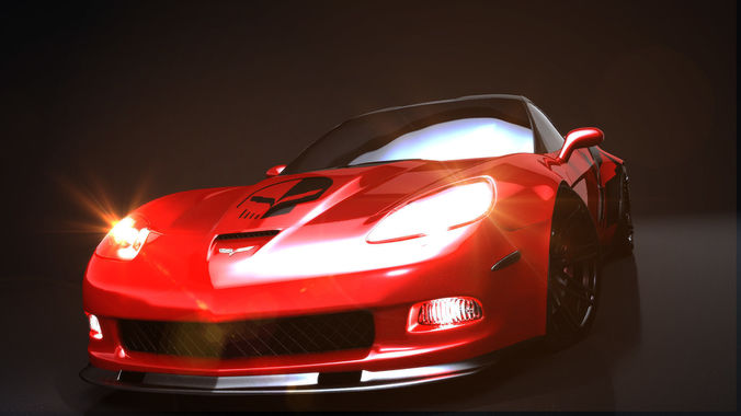 supervette zr6x rigged c4d 3d model animated obj mtl 3ds fbx c4d blend dae 1