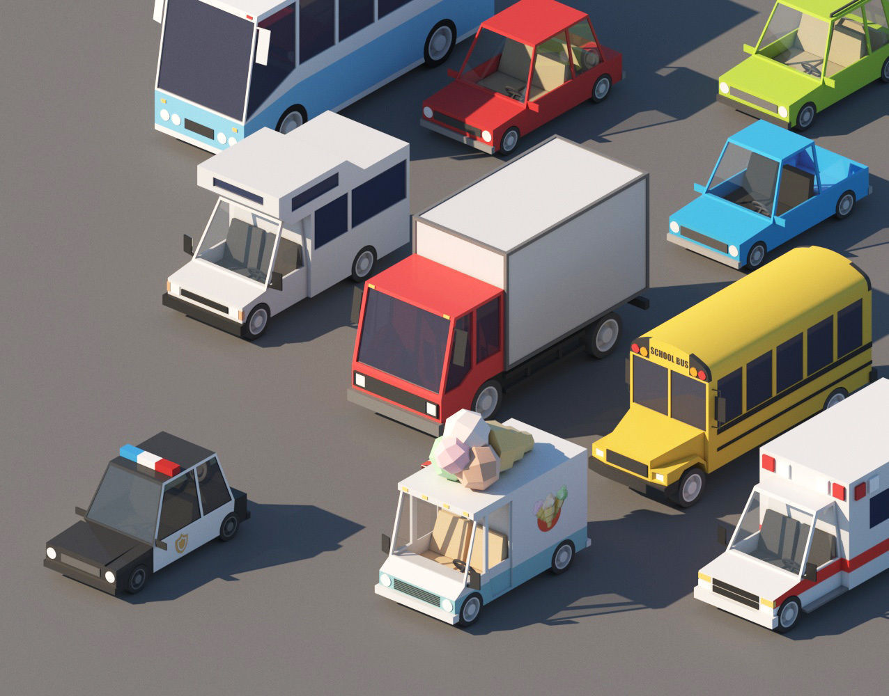 Cartoon Low Poly Cars Pack