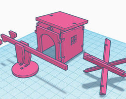 toys WWII Guardhouse with hedgehog 3D print model