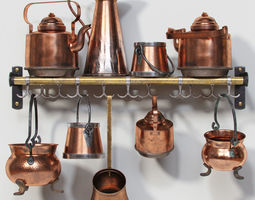Old Copper Cookwares 3D model