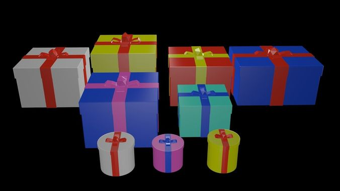 low poly gifts boxes 3d model obj mtl 3ds fbx blend x3d ply 1