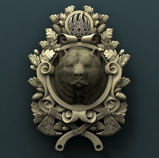 Grizzly medallion  3d stl model for cnc 3D print model