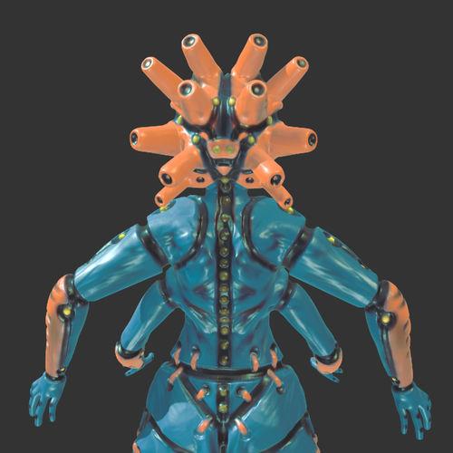 mech goddess 3d model obj gltf glb 1