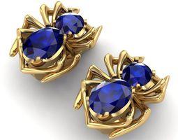 3D print model Earrings sapphire spider