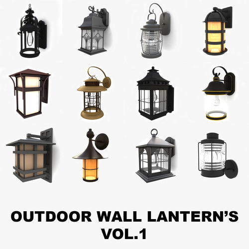 outdoor wall lanterns collection 1 3d model max obj mtl 3ds fbx 1