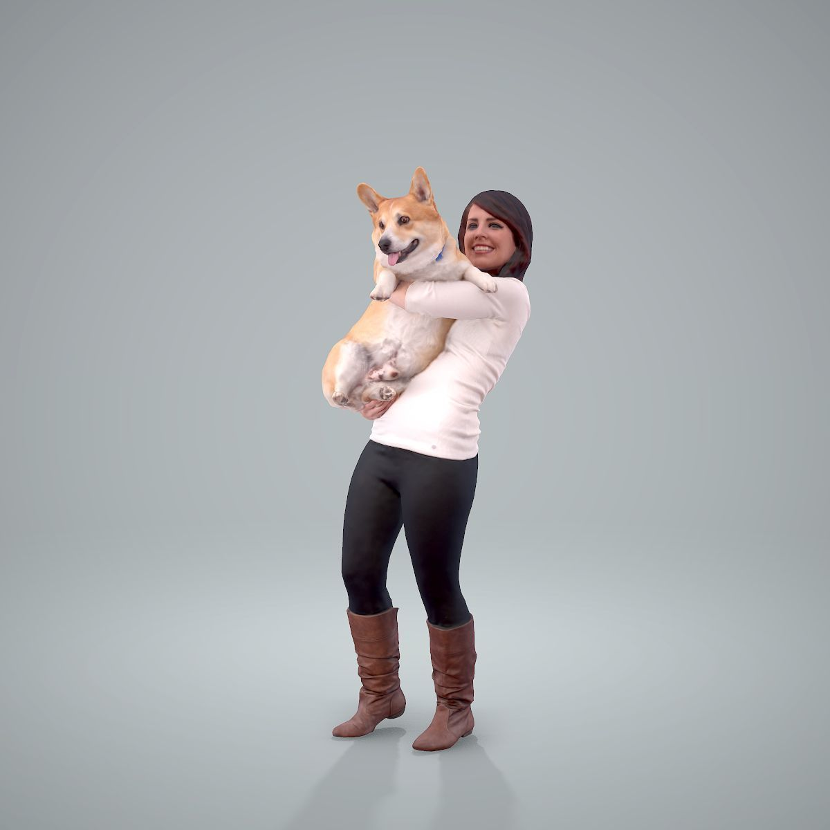 Woman Holding Dog CWom0209-HD2-O01P01-S