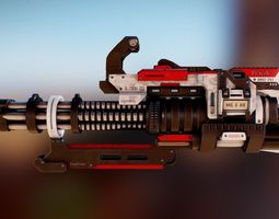 Futuristic Minigun 3D model rigged