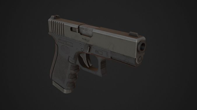 glock 19 low poly 3d model obj 3ds fbx blend mtl 1