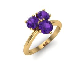 3D printable model Ring with three amethysts