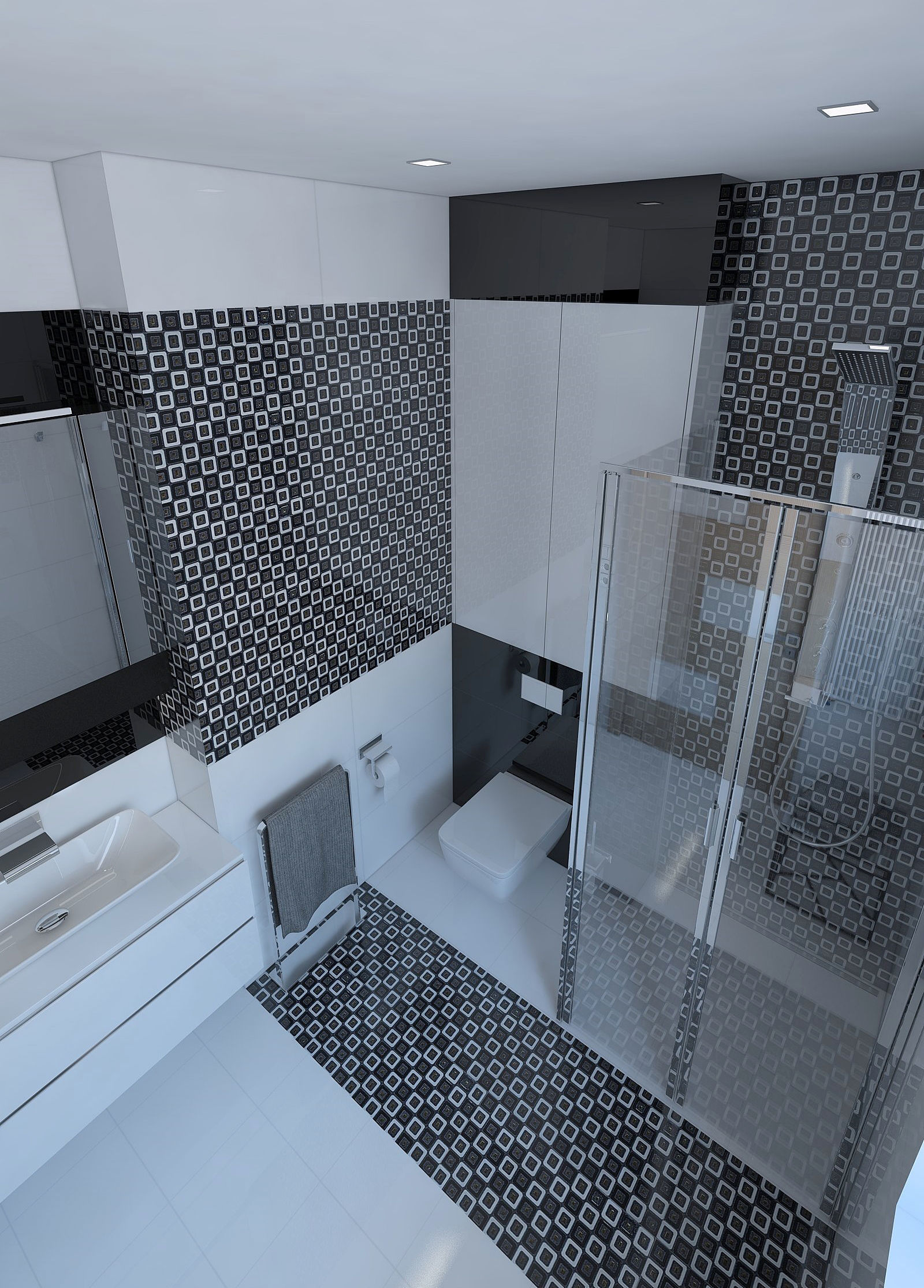 Beautiful bathroom with shiny tiles 3D model | CGTrader on Tile Models  id=46744