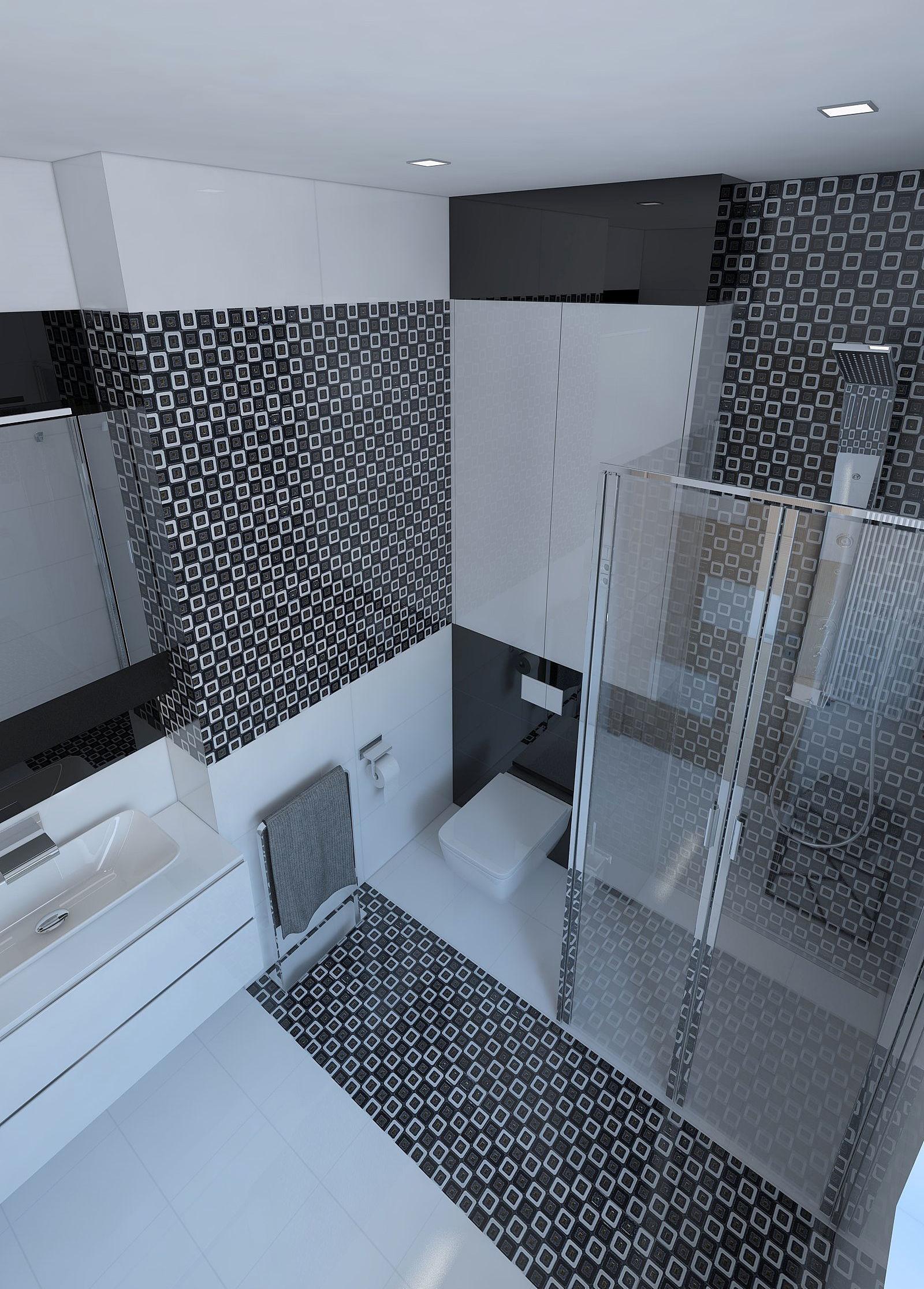Beautiful bathroom with shiny tiles 3D model | CGTrader on Bathroom Model  id=64484