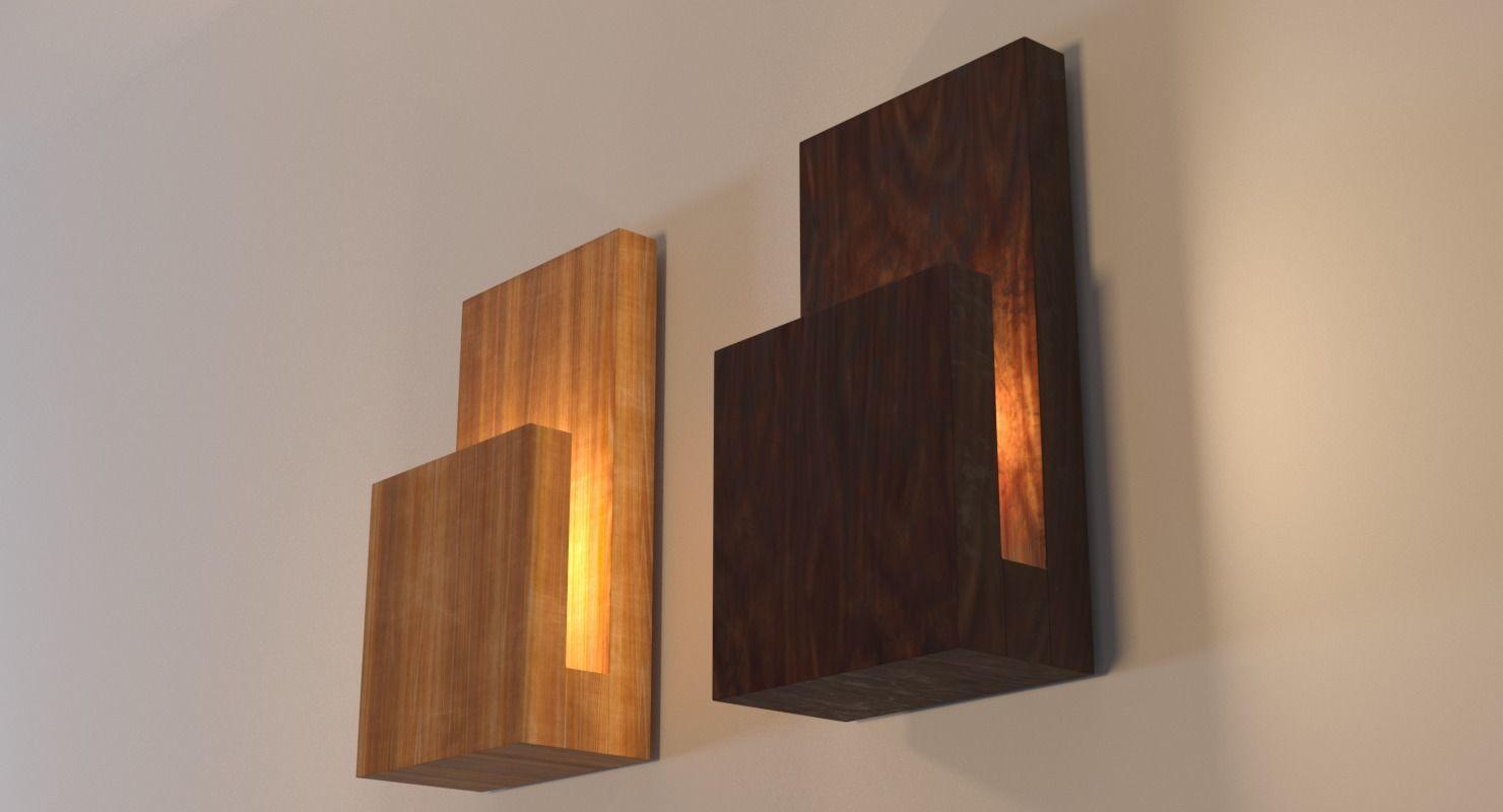 Modern Wood Wall Lamp 3d Model