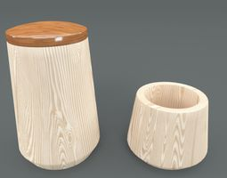Wooden Bath Accessories 3D asset game-ready