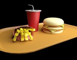 3D model menu fast food