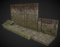 3D asset Low poly Ancient Stone Ruined Building Modules 2