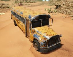 3D model Game-ready low-poly PBR School Bus rigged