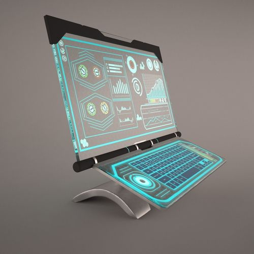 3d Sci Fi Computer With Glassy Hologram Screen Cgtrader