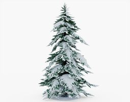 Snowy Pine Tree 3D model game-ready