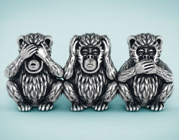 Three Wise Monkeys gold 3D printable model