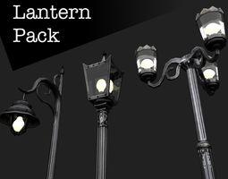 Victorian Street Lantern Pack 3D asset game-ready