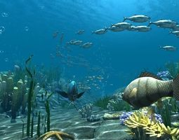 3D Underwater world of coral and aquatic plants animated