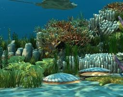 Underwater world of coral and aquatic 3D model 2