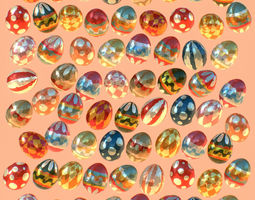 Low Poly Art Animated Easter Ornamental Eggs 3D