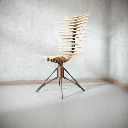 wooden skeleton chair 3d model max obj mtl fbx blend 1