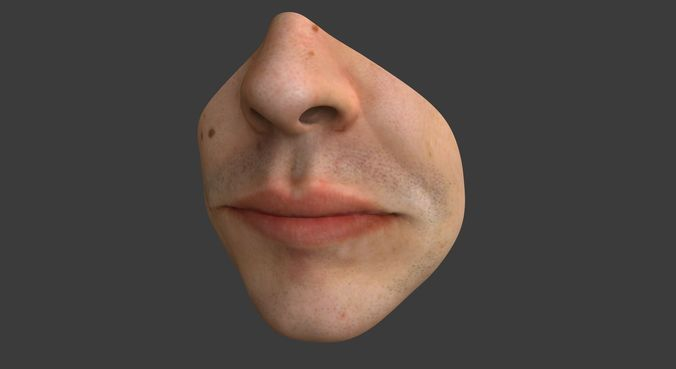 male mouth 3d model obj mtl ma mb mel 1