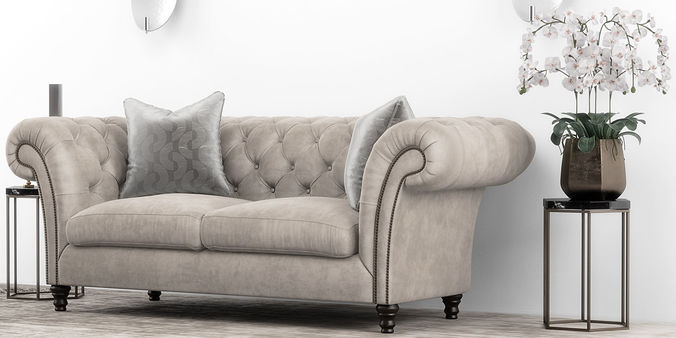 ... Club Chesterfield Sofa Set 3d Model Max Obj Mtl 5 ...