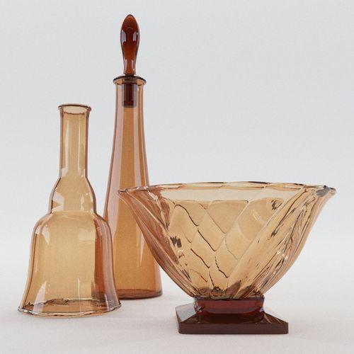 two carafes and bowl - art nouveau - around 1900 3d model max obj mtl fbx pdf 1