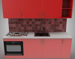 red 3D Red Kitchen with furnitures