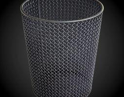 Round Steel Wire Mesh WasteBasket PBR 3D