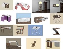 Modern furniture set computer 3D model