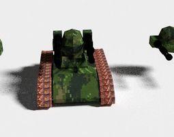 3D asset Low poly Gatling Tank