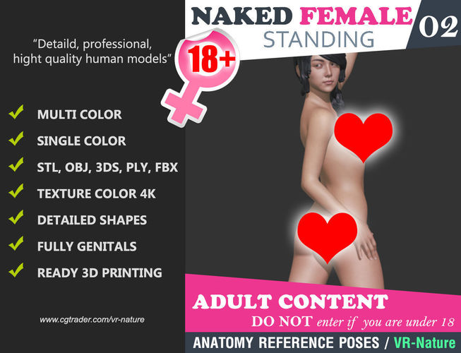 naked girl 02 multi color 3d printing 180321 3d model obj mtl 3ds fbx stl ply 1