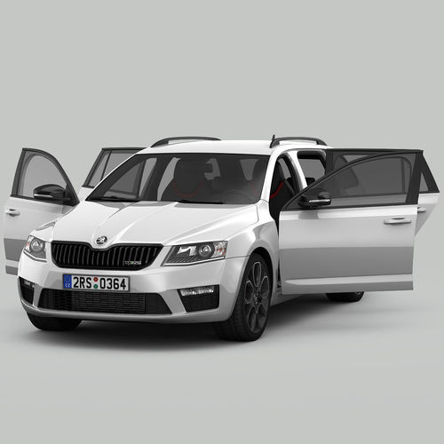 Skoda Octavia Combi Rs 2014 Detailed Interior 3d Model