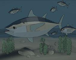 3D model low poly tuna fish