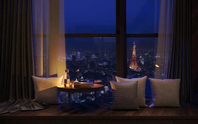 Modern Grey And Wood Bedroom Nightlight Interior Window Seating 3D Model