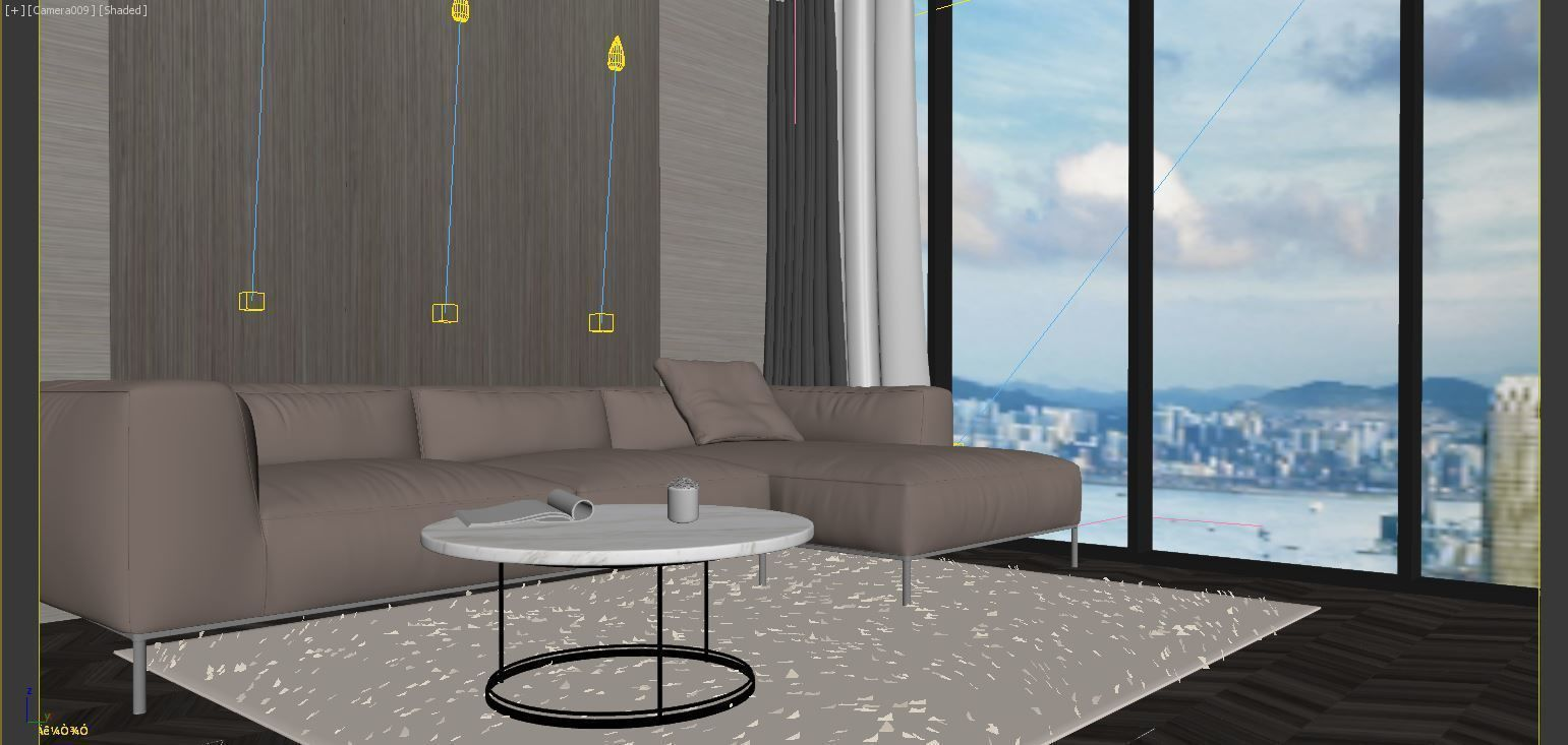Modern simple grey clean living room apartment 3D