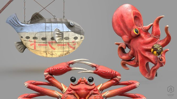 game ready japanese signs sea creatures pack 3d model max obj mtl fbx ma mb ztl 1