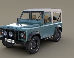 3D 1985 Land Rover Defender 90 with interior ver 1