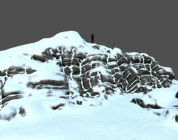 snow mountain dune 3D asset low-poly