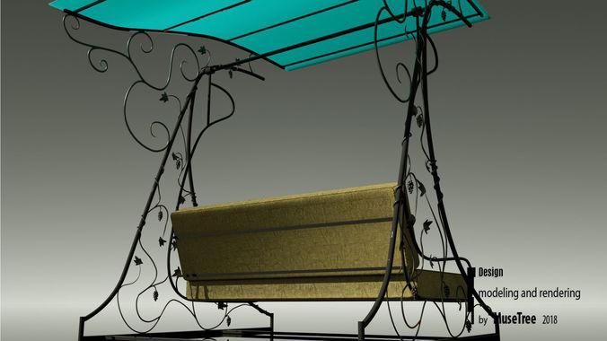 Garden Swing Wrought Iron Model Low Poly Max Obj Mtl S Fbx