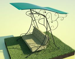 VR / AR ready Garden Swing Wrought iron 3D model