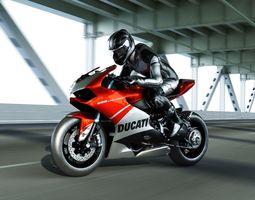 3D asset Ducati panigale 1199 superleggera with rider
