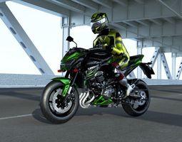 Kawasaki Z800 With rider 3D asset