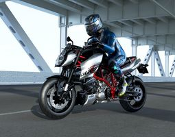 ktm 990 super duke r with rider 3D asset